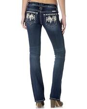Miss Me Women's Feather Boho Slim Jeans Bootcut - JP7707SB DK 468