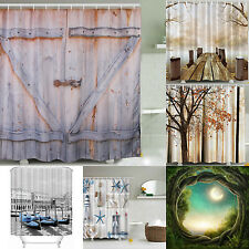 Shower Curtain Fabric Waterproof Bathroom Season Tree Design Polyester 12 Hooks