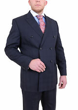 Steven Land Navy Blue Tonal Plaid Double Breasted Pleated Super 150's Wool Suit