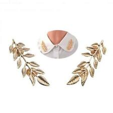 Pair of Vintage Leaf Ivy Lapel Collar Brooch Pin Girls Accessory-Gold/Silver