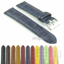 StrapsCo Crocodile Grain Embossed Strap Padded Leather Watch Band