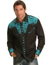 Scully Men's Turquoise Embroidery Retro Western Shirt Big And Tall - P-634X TRC