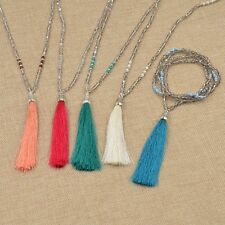 Bohemian Hippy Long Beaded Tassel Pendant Sweater Chain Necklace