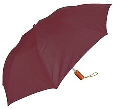 RainStoppers W001 Auto Open Collapsible Arc Umbrella with Wood Handle, Burgundy,