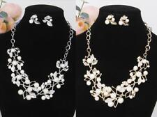 Crystal Leaves Vine Pearls Statement Necklace Earrings Bride Girls Jewelry Set