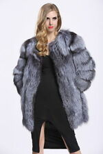 Women Fashion Silver Fox Faux Fur Outwear Long Coat Winter Warm Coat Jacket 2017