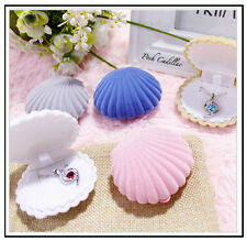 Velvet Luxury shell Jewellery Gift, Wedding Engagement Promise Ring Earring Box