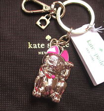 NWT Kate Spade Tokyo Lucky Cat Key Fob Chain Keychain w/ Kate Spade Pouch RARE