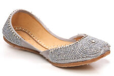 UNZE ROSE' KIDS LEATHER TRADITIONAL INDIAN KHUSSA PUMPS SIZE UK 1 - 13 SILVER