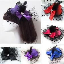 Mini Party Bowknot Fascinator Hat Feather Hair Clip Lace
