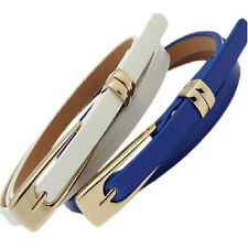 Fashion Women Candy Color Skinny Waist Belts Girl Thin Leather Narrow Waistbands