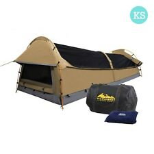 King Single Camping Canvas Swag Tent w/ Air Pillow