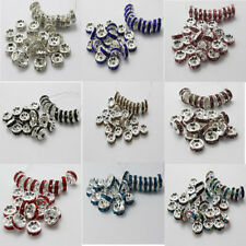 100PCS Fashion Czech Crystal Rhinestone Silver Rondelle Spacer Beads 6mm 8mm E