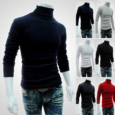 New Mens Thermal Cotton Stretch Shirt Knit Sweaters Turtle Neck Solid Turtleneck
