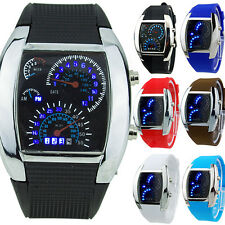 HOT SALE RPM Turbo Blue Flash LED Mens Sports Car Meter Dial Watch Ardent