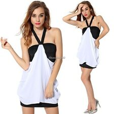 Package Hip Halter V Neck Chiffon Mini Dress Backless Women's Splicing C1MY