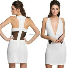 Fashion Women Sleeveless Deep V-neck Back Hollow Out Party Cocktail Dress C1MY