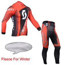 Mens Cycling Thermal Fleece Lined Jersey Pants Kits Shirt Sweater Tights Pad New