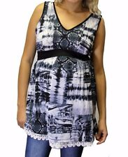 Charcoal Gray Design Hippi Sleeveless Maternity Pregnancy Top S M L XL