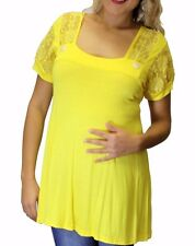 Yellow Maternity Blouse Solid Womens Lace Blouse  S M L XL