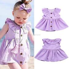 0-24M Infant Baby Kid Girl Spring Summer Dress Sleeveless Button Dress Shirt Top