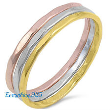 Sterling Silver 925 TRI-TONE COLOR  HAMMERED BAND SET DESIGN RINGS 3MM SIZES4-10