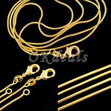 Simple DIY Jewelry 16-30 Inch Snake Chain Necklace 18K Yellow Gold Filled