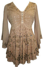 116 B Agan Traders Medieval Butterfly Embroidered Bell Sleeve Blouse Top