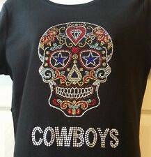 Dallas Cowboys Sugar Skull Rhinestone Bling vneck ladies Tshirt