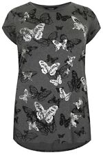 Plus Size Charcoal Grey Butterfly Print T-Shirt With Foil Detail & Dipped Hem