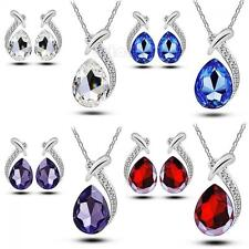 Women Crystal Chain Set Stud Earring Pendant Necklace Silver Plated