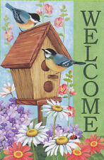 "Chickadee Birdhouse ""Welcome"" Large Garden Yard Flag Blooming Spring Flowers NEW"