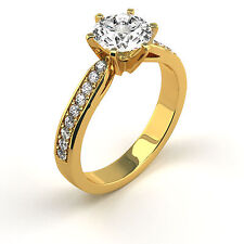 3.63 Ct Round G/I1 Diamond Solitaire Engagement Ring 14K Yellow Gold Enhanced