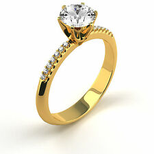 1.18 Ct Round D/SI2 Diamond Solitaire Engagement Ring 14K Yellow Gold Enhanced