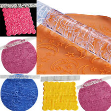 Textured Embossing Acrylic Rolling Pin Fondant Cake Kitchen Pastry DIY Craft