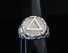 "Sterling Silver Alcoholics Anonymous 5/8"" Nugget AA Symbol New Ring Recovery 92"