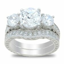 Three Stone Sterling Silver White CZ Wedding Engagement Ring Set