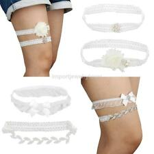 White Bridal Garter Set Crystal Trim Lace Flower Wedding Favor Keepsake Garter