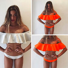 Sexy Women Ruffle Flounce Off-Shoulder Bikini Top+Bottom Beach Swimwear Swimsuit