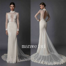 White Lace Wedding Dresses Bridal Mermaid Gown Custom Size:6 8 10 12 14 16 18+++