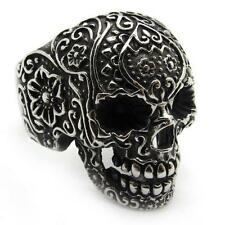 Stainless Steel Skull Gothic Flower Silver PUNK Jewelry Men's Accessories Ring
