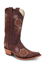 New Womens Brown Cowgirl Western Leather Boots REDHAWK 36103 Size 5-10 (B, M)