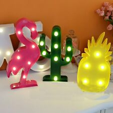 Cute Flamingo Night Light Plastic LED Marquee Sign Pineapple Cactus Lights Ho...