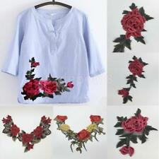 Rose Flower Applique Badge Embroidered Floral Collar Sew Patch Bust Dress Craft
