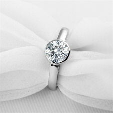 1CT Round NSCD Simulated Diamond 925 Silver Ring Women Wedding Engagement Ring