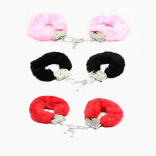 RED BLACK PINK FLUFFY FURRY HANDCUFFS FANCY DRESS SEXY ROLE PLAY NIGHT TOY
