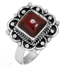 Solid 925 Sterling Silver Ring Natural Garnet Gemstone Jewelry Size 5 hb91156