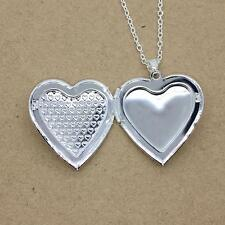 Fashion Vintage Love Heart Photo Charm Silver Plated Locket Pendant