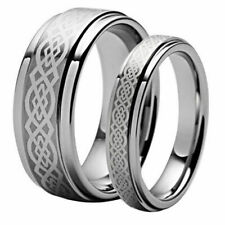 His & Her's 8MM/6MM Tungsten Carbide Royalty Celtic Knot Wedding Band Ring set