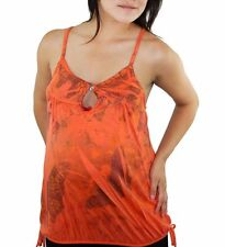 Orange Butterfly  Maternity Womens Maternity Top Blouse New Button Cami